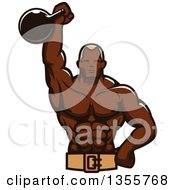 Clipart Of A Black Male Bodybuilder Holding Up A Kettlebell Royalty Free Vector Illustration by Seamartini Graphics
