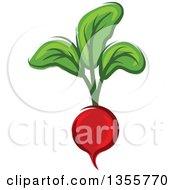 Clipart Of A Cartoon Radish Royalty Free Vector Illustration