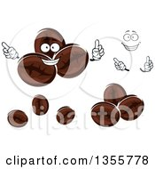 Clipart Of A Cartoon Face Hands And Coffee Beans Royalty Free Vector Illustration