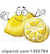 Clipart Of A Cartoon Lemon Character And Half Royalty Free Vector Illustration