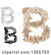 Clipart Of Black And White And Tan Floral Capital Letter B Designs Royalty Free Vector Illustration