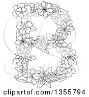 Clipart Of A Black And White Outlined Floral Capital Letter B Royalty Free Vector Illustration by Vector Tradition SM