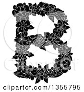 Clipart Of A Black And White Floral Capital Letter B Royalty Free Vector Illustration by Vector Tradition SM