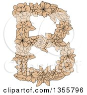 Clipart Of A Tan Floral Capital Letter B Royalty Free Vector Illustration by Vector Tradition SM