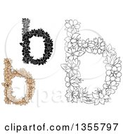 Clipart Of Black And White And Tan Floral Lowercase Letter B Designs Royalty Free Vector Illustration