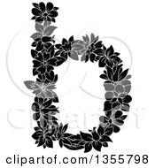 Clipart Of A Black And White Floral Lowercase Letter B Royalty Free Vector Illustration by Vector Tradition SM