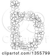 Clipart Of A Black And White Outlined Floral Lowercase Letter B Royalty Free Vector Illustration by Vector Tradition SM