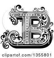 Clipart Of A Retro Black And White Capital Letter B With Flourishes Royalty Free Vector Illustration by Vector Tradition SM