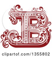 Clipart Of A Retro Red And White Capital Letter B With Flourishes Royalty Free Vector Illustration by Vector Tradition SM