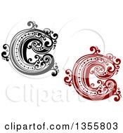 Clipart Of Retro Red Black And White Capital Letter C Designs With Flourishes Royalty Free Vector Illustration