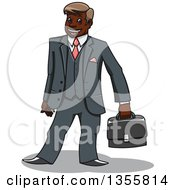 Clipart Of A Cartoon Happy Black Businessman Holding A Briefcase Royalty Free Vector Illustration