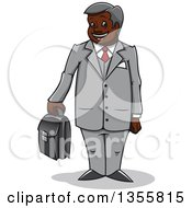 Clipart Of A Cartoon Happy Black Businessman Standing And Holding A Briefcase Royalty Free Vector Illustration