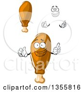 Clipart Of A Cartoon Happy Face Hands And Chicken Drumsticks Royalty Free Vector Illustration