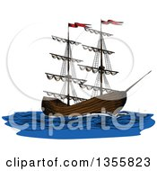 Clipart Of A Sketched Ship Royalty Free Vector Illustration