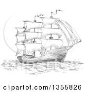Clipart Of A Sketched Gray Sailing Tall Ship Royalty Free Vector Illustration