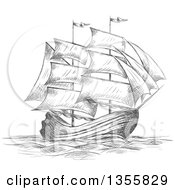 Clipart Of A Sketched Gray Sailing Tall Ship Royalty Free Vector Illustration