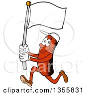 Clipart Of A Cartoon Sausage Character Running With A Blank Flag Royalty Free Vector Illustration by LaffToon