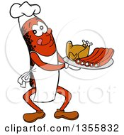 Cartoon Sausage Chef Carrying A Roasted Chicken And Bbq Ribs On A Tray