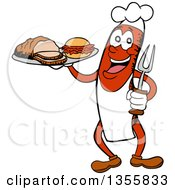 Clipart Of A Cartoon Sausage Chef Holding A Pulled Pork Sandwich And Brisket On A Tray Royalty Free Vector Illustration by LaffToon