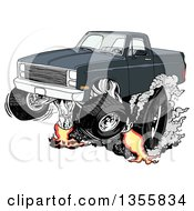 Clipart Of A Cartoon Black Chevy Pickup Truck Peeling Out Royalty Free Vector Illustration by LaffToon