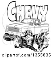 Clipart Of A Cartoon Black And White Chevrolet Pickup Truck Peeling Out Under Chevy Text Royalty Free Vector Illustration by LaffToon
