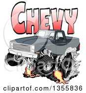 Clipart Of A Cartoon Black Chevrolet Pickup Truck Peeling Out Under Red Chevy Text Royalty Free Vector Illustration by LaffToon