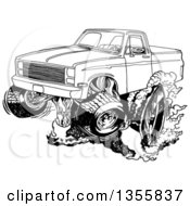 Clipart Of A Cartoon Black And White Chevy Pickup Truck Peeling Out Royalty Free Vector Illustration by LaffToon