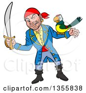 Cartoon Pirate Holding A Sword And Winking With A Parrot On His Arm