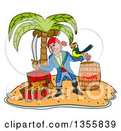 Cartoon Pirate Holding A Sword And Winking With A Parrot On His Arm Standing With A Rum Barrel And Treasure On A Tropical Island