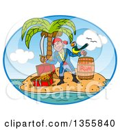 Clipart Of A Cartoon Pirate Holding A Sword And Winking With A Parrot On His Arm Standing With A Rum Barrel And Treasure In A Tropical Island Oval Royalty Free Vector Illustration