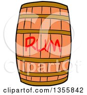 Clipart Of A Cartoon Wooden Rum Barrel Royalty Free Vector Illustration