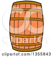 Clipart Of A Cartoon Wooden Barrel Royalty Free Vector Illustration by LaffToon