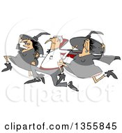 Clipart Of A Cartoon Halloween Vampire Running With Witches Royalty Free Vector Illustration