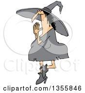 Cartoon Halloween Witch Doing Yoga
