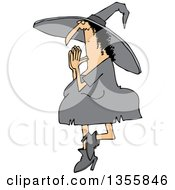 Clipart Of A Cartoon Halloween Witch Doing Yoga Royalty Free Vector Illustration by Dennis Cox