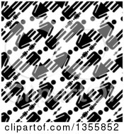 Clipart Of A Seamless Background Pattern Of Black Silhouetted Men And Women Over White Royalty Free Vector Illustration