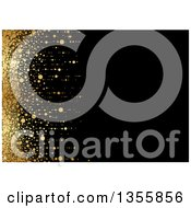 Clipart Of A Black Background With A Left Edge Of Golden Dots And Flares Royalty Free Vector Illustration