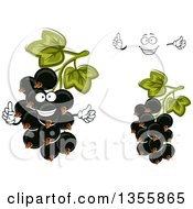 Clipart Of A Cartoon Happy Face Hands And Black Currant Berries Royalty Free Vector Illustration