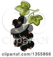 Clipart Of A Cartoon Black Currants Royalty Free Vector Illustration