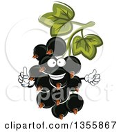 Clipart Of A Cartoon Black Currant Character Royalty Free Vector Illustration