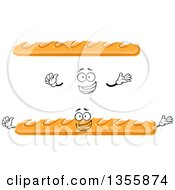 Clipart Of A Cartoon Happy Face Hands And Baguette Bread Royalty Free Vector Illustration