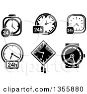 Clipart Of Black And White 24 Clocks And A Wristwatch Royalty Free Vector Illustration