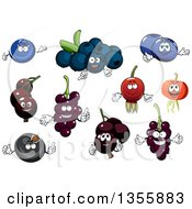Clipart Of Cartoon Blueberry Currant And Black Currant Characters Royalty Free Vector Illustration