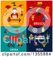 Clipart Of Flat Design Japan Greece China And India Culture Items Royalty Free Vector Illustration