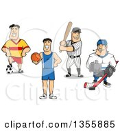 Clipart Of White Male Soccer Basketball Baseball And Hockey Players Royalty Free Vector Illustration by Vector Tradition SM