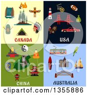 Clipart Of Flat Design Canada Usa China And Australia Culture Items Royalty Free Vector Illustration