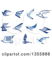 Clipart Of Blue Flying Eagles And Doves Royalty Free Vector Illustration by Vector Tradition SM