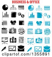 Poster, Art Print Of Black And White And Blue Business And Office Icons
