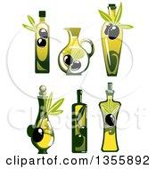Clipart Of Bottles Of Olive Oil Royalty Free Vector Illustration