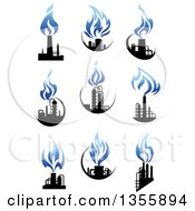Clipart Of Black And Blue Natural Gas And Flame Factory Designs Royalty Free Vector Illustration